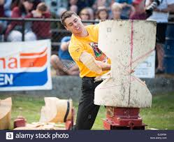 jesse whitehead of waiuku new zealand in the standing butcher jesse whitehead of waiuku new zealand in the standing butcher block chop event the squamish loggers day loggers sports event