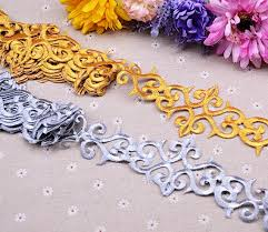 self adhesive ribbon 4 yards 7 5cm width silver gold braid ribbon lace trims iron on