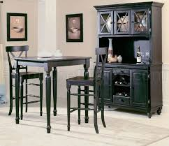 black modern 5pc pub dinette set w optional buffet with hutch