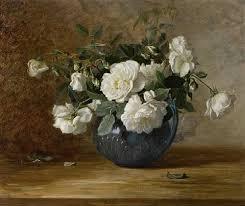 White Roses In A Vase White Roses In A Blue Vase By Alice Brown Chittenden On Artnet