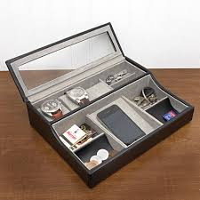engravable box valet with holders and glass cover the watches tables