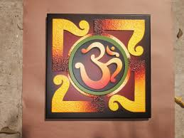 colorful om 3 wooden wall hanging