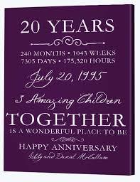20th wedding anniversary 20th wedding anniversary gifts canvas factory