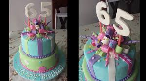 sweet 65th birthday cake with stripes and bows youtube