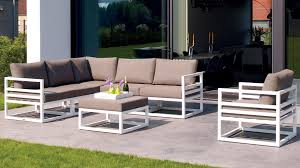 Curved Modular Outdoor Seating by White Aluminum Fabri Outdoor Lounge Set With Taupe Cushions Zuri