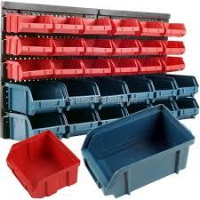 30pc storage bin kit wall mounted garage warehouse tools parts