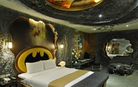 batman logo wall decal batmanthemed hotel room opens in taiwan my