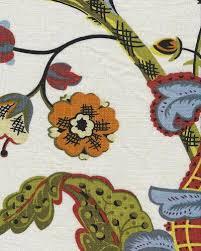Cotton Linen Upholstery Fabric Jacobean Floral Block Print Crewel Work Print Large Scale Textured