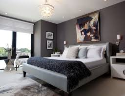 cool bedroom design with black polished iron bed frame which has