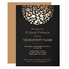 formal invitations gold circle sphere black formal invitation zazzle