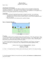 Graphing Speed Worksheet Moving Man Worksheet Velocity Acceleration