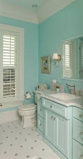 aqua paint colors for coastal bathroom with aqua blue cabinets and