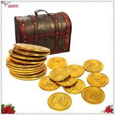 Treasure Chest Favors by 50pcs Plastic Gold Silver Treasure Coins Captain Pirate