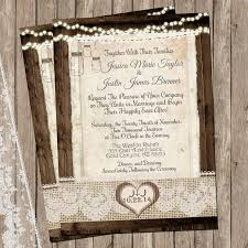 rustic and lace wedding invitation mason jar burlap lights
