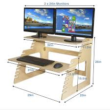 Desk Platform What Are The Dimensions Of The Double Monitor Well Desk Height