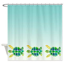 Sea Turtle Bathroom Accessories Swimming Sea Turtles Shower Curtain Baby Turtles Cute