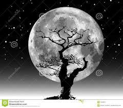 raster moon illustration and tree stock vector illustration of