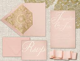 blush and gold wedding invitations printed wedding invitations in blush a hint of gold by