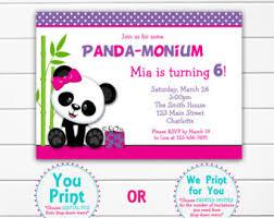 panda invitation etsy