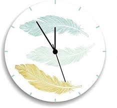 amazon com nursery clock feather wall clock mint and gold wall