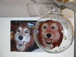 hand painted pet portrait glass ornament personalized gift