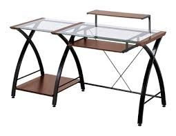 Office Depot Glass Computer Desk Z Line Designs Brisa Glass Computer Desk 36 H X 61 W X 24 D Cherry