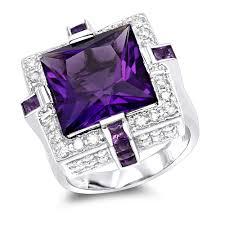 large amethyst diamond white gold diamond cocktail rings diamond fashion rings 14k 18k white gold