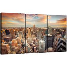 Livingroom Nyc Cheap New York Skyline Canvas Wall Art 3 Panel For Your Living Room