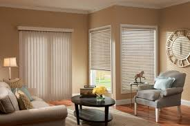 decorating charming white window with white levolor blinds on tan