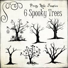 6 digital halloween spooky trees clipart digital brushes digital