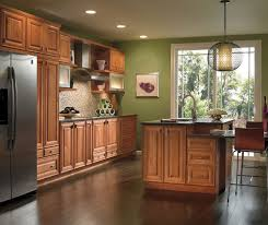 Cherry Cabinets With Painted Kitchen Island Kemper - Pictures of kitchens with cherry cabinets