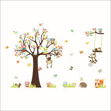 online get cheap rainbow wall decal aliexpress alibaba group rainbow fox jungle zoo animal party owls monkey tree with squirrel kids nursery wall decal