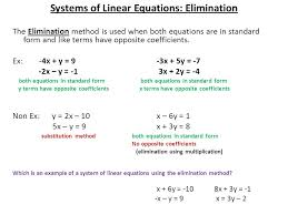 2 systems of linear equations elimination