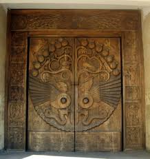 Keyhole Doorway A Door Carved With Pomegranates Grapes Vines Birds Oud Player