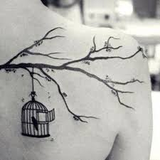 bird cage tattoos tree branch and