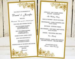 traditional wedding program template traditional program etsy