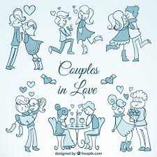 sketches of beautiful couples in love vector free download