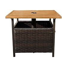 umbrella stand side table amazon com sunlife patio umbrella base side table outdoor bistro