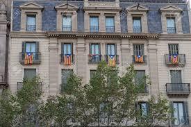 Estelada Flag Catalan Flag Estelada Hanging From Balconies In Barcelona Spain