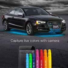 color led light strips 6pc car interior neon underglow accent light kit campatible with