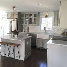 Kitchen Subway Tile Backsplash by White Ceramic Subway Tile Apron Sink Gray Cabinets And Grey