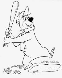 yogi bear not berra playing baseball page from a coloring book