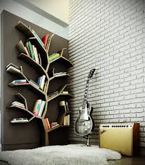 stylish tree branch bookshelf design idea in walnut wood finish