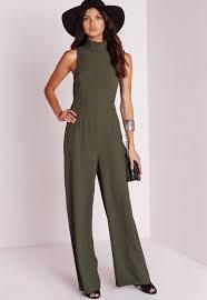 high neck jumpsuit lyst missguided high neck wide leg jumpsuit khaki in