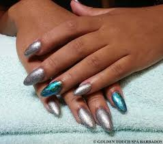 gel polish with hologram nail decoration on ring fingers picture