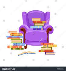 Cartoon Armchair Violet Vector Armchair Piles Books On Stock Vector 436496401