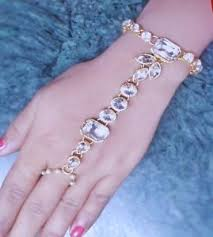 pearl bracelet ebay images Indian women bridal bracelet attach with ring cuff gold plated jpg