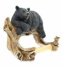 amazon com black bear lounging toilet paper holder decorative