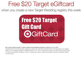 gift card registry wedding getting married free 20 target gift card when you create a