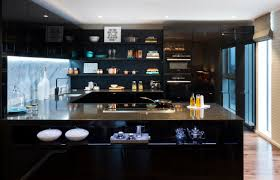 unique purple black and white kitchen taste